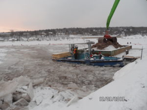 debris management equipment in icy waters