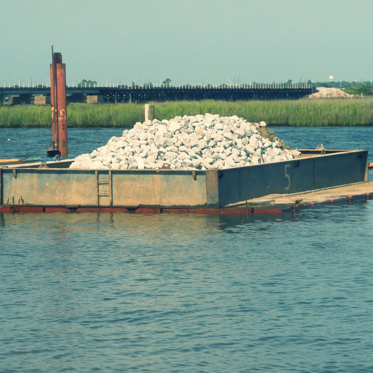 Sand & Rocks ready to be used for capping