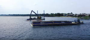 White Lake Dock & Dredge vessels completing Manistique OU2 project
